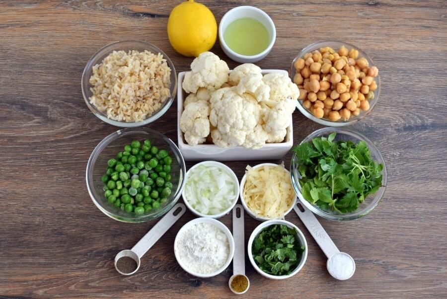 Ingridiens for Cauliflower Rice Cakes