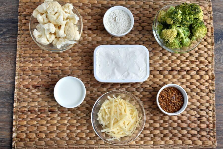 Ingridiens for Cauli' 'n Broc' Cheese