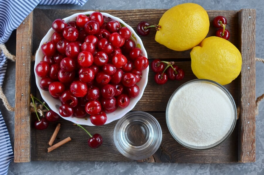 Ingridiens for Cherry and Cinnamon Conserve