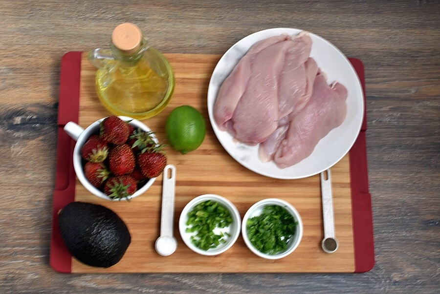 Ingridiens for Chicken Cutlets with Strawberry-Avocado Salsa