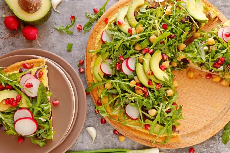 How to serve Vegan Chickpea Crust Pizza with Greens Galore