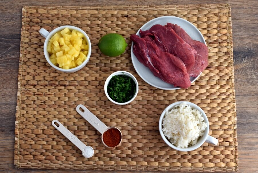 Ingridiens for Gluten Free Chili Steaks with Hawaiian Rice