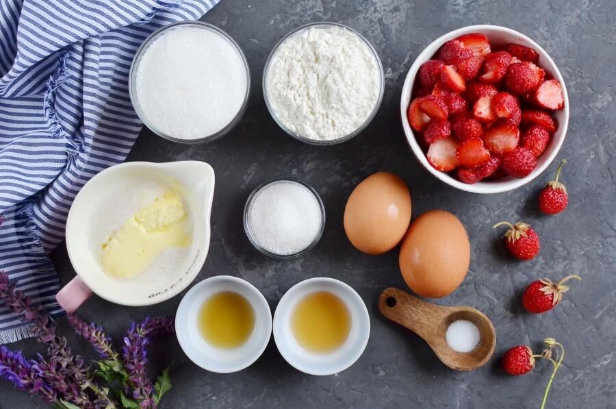 Ingridiens for Crustless Fresh Strawberry Pie