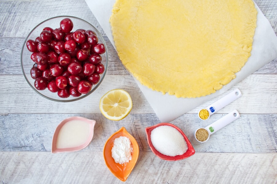 Ingridiens for Fresh Cherry Galette