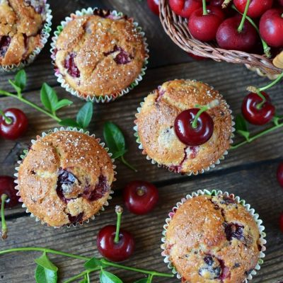 Fresh Cherry Muffins Recipe-How To Make Fresh Cherry Muffins-Delicious Fresh Cherry Muffins