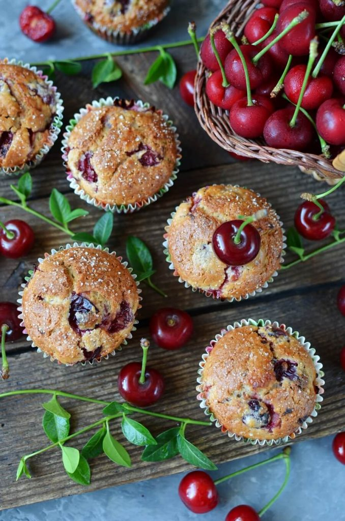 Fresh Cherry and Almond Flavor Muffins