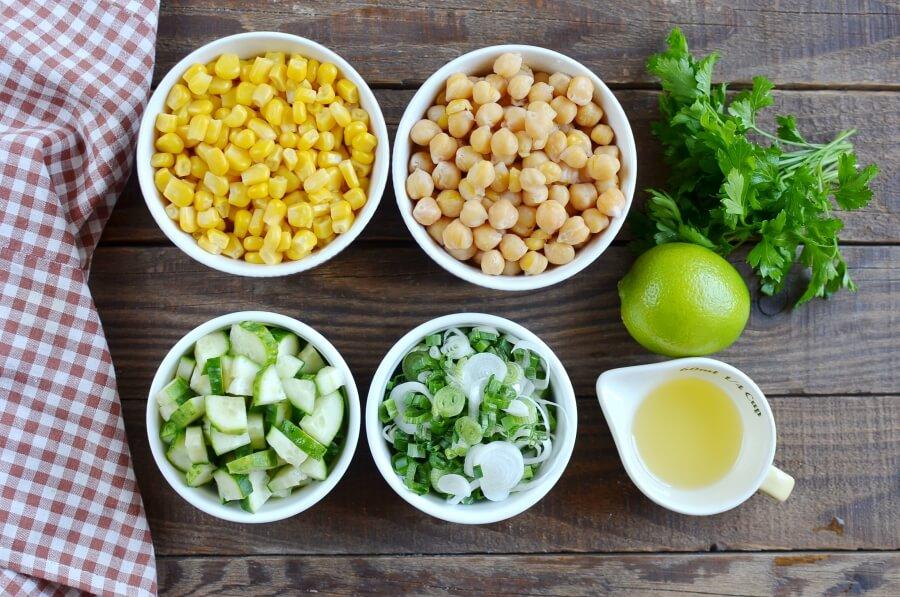Ingridiens for Fresh Vegan Corn and Chickpea Salad