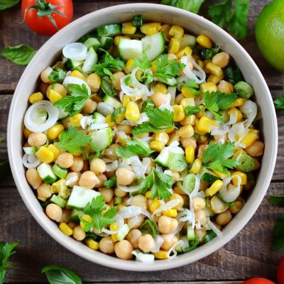 Fresh Corn and Chickpea Salad Recipe-Homemade Fresh Corn and Chickpea Salad-Delicious Fresh Corn and Chickpea Salad