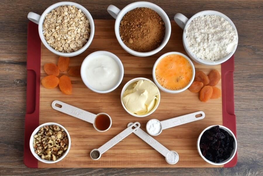 Ingridiens for Healthy Fruited Oatmeal Cookies
