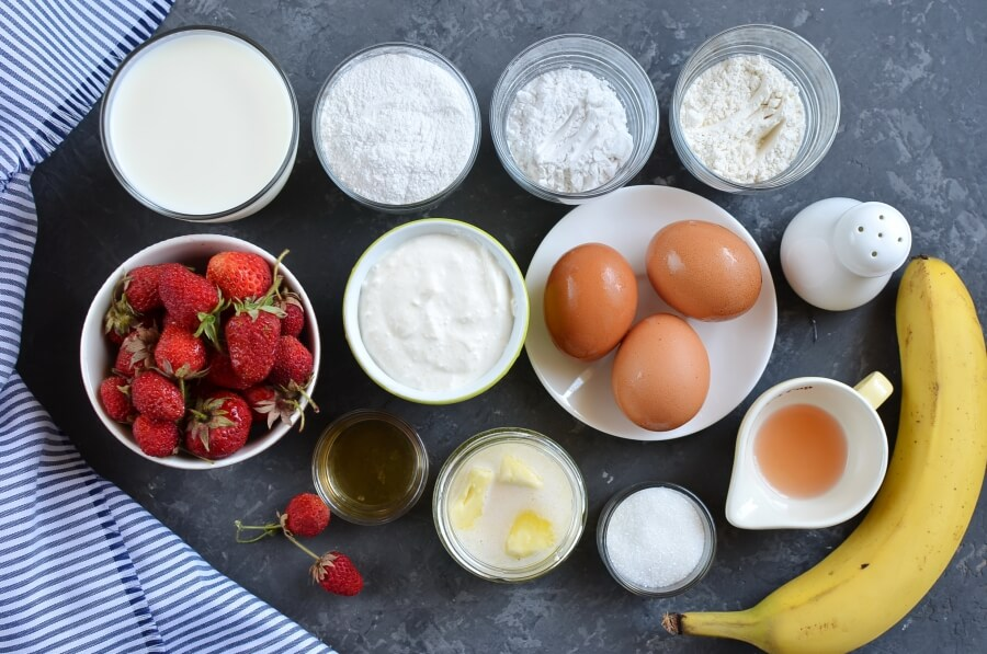 Ingridiens for Gluten free Strawberry-Banana Crepes