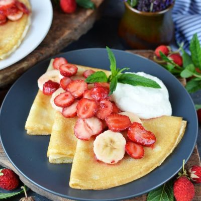 Gluten-free Strawberry Recipe-How To Make Banana Crepes-Gluten-free Strawberry-Banana Crepes-Delicious Gluten-free Strawberry-Banana Crepes