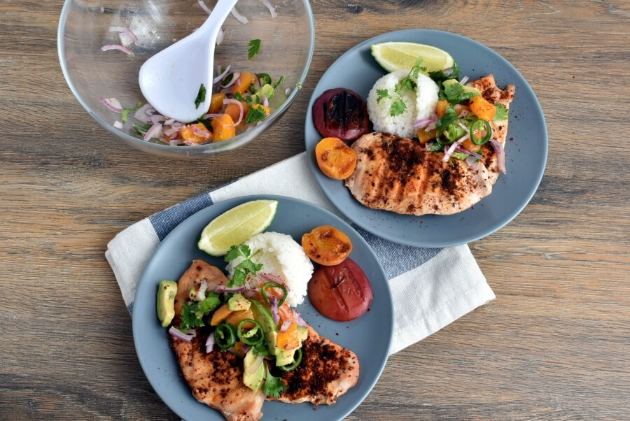 How to serve Grilled Ancho Chicken Breasts with Apricot Salsa