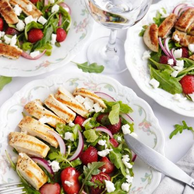 Grilled Chicken Salad with Strawberries and Feta Recipe-Delicious Grilled Chicken Salad with Strawberries and Feta-How to Make Grilled Chicken Salad with Strawberries and Feta