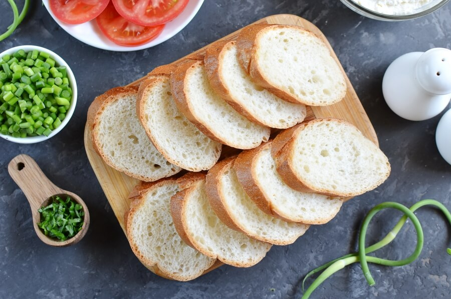 Grilled Crostini with Garlic Scape Cream Cheese and Tomatoes recipe - step 2