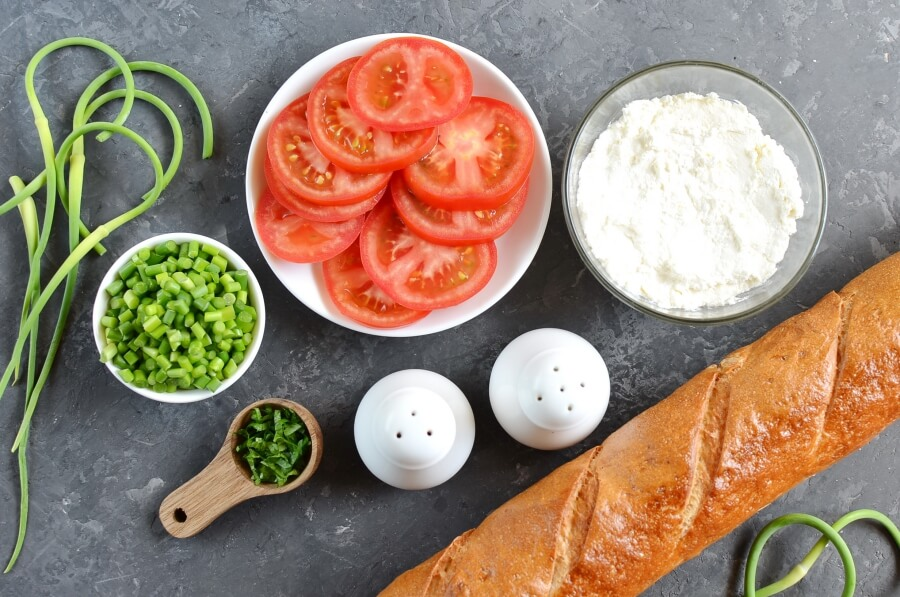 Ingridiens for Grilled Crostini with Garlic Scape Cream Cheese and Tomatoes