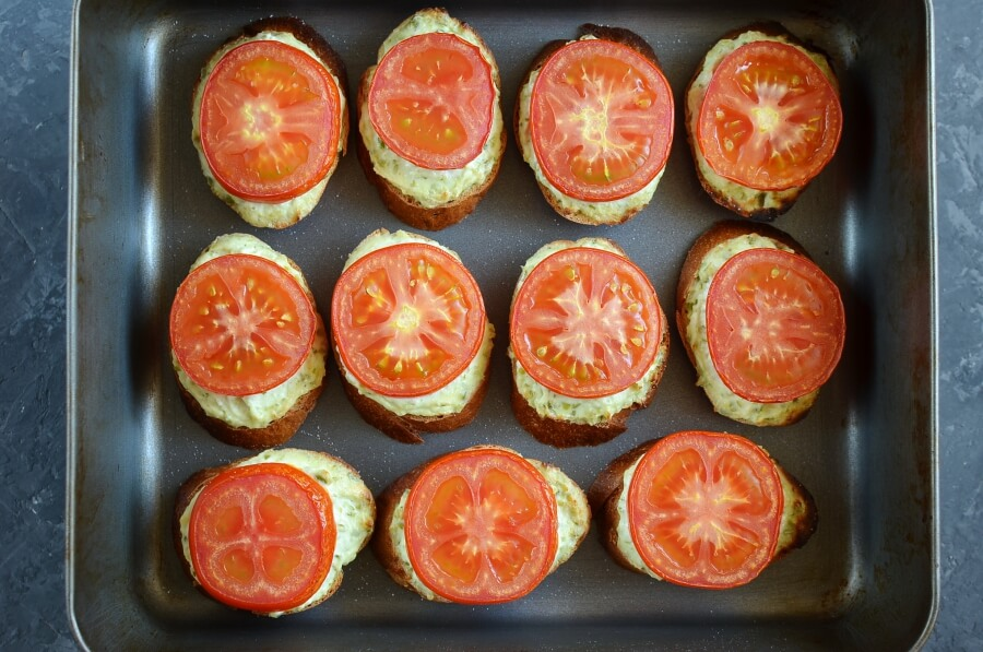Grilled Crostini with Garlic Scape Cream Cheese and Tomatoes recipe - step 6