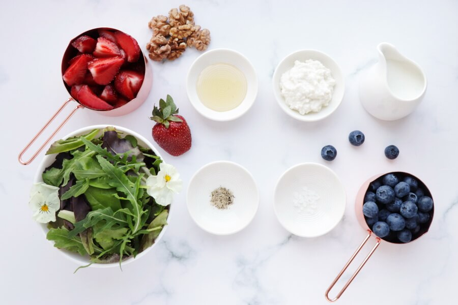 Ingridiens for Healthy Berry and Walnut Salad
