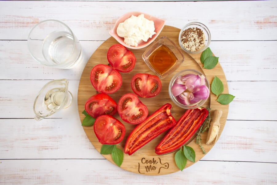 Ingridiens for Healthy Roasted Red Pepper & Tomato Soup with Ricotta