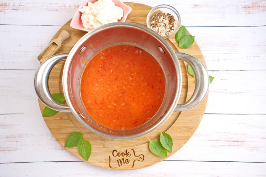 Healthy Roasted Red Pepper & Tomato Soup with Ricotta recipe - step 6