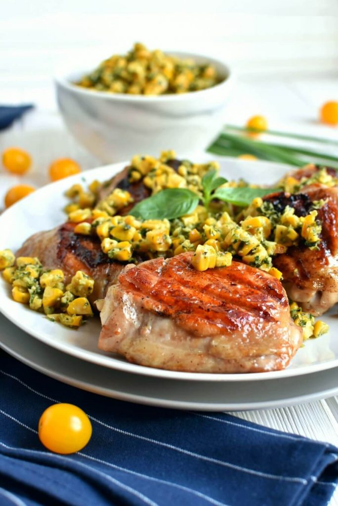Keto Grilled Chicken with Herbed Corn Salsa