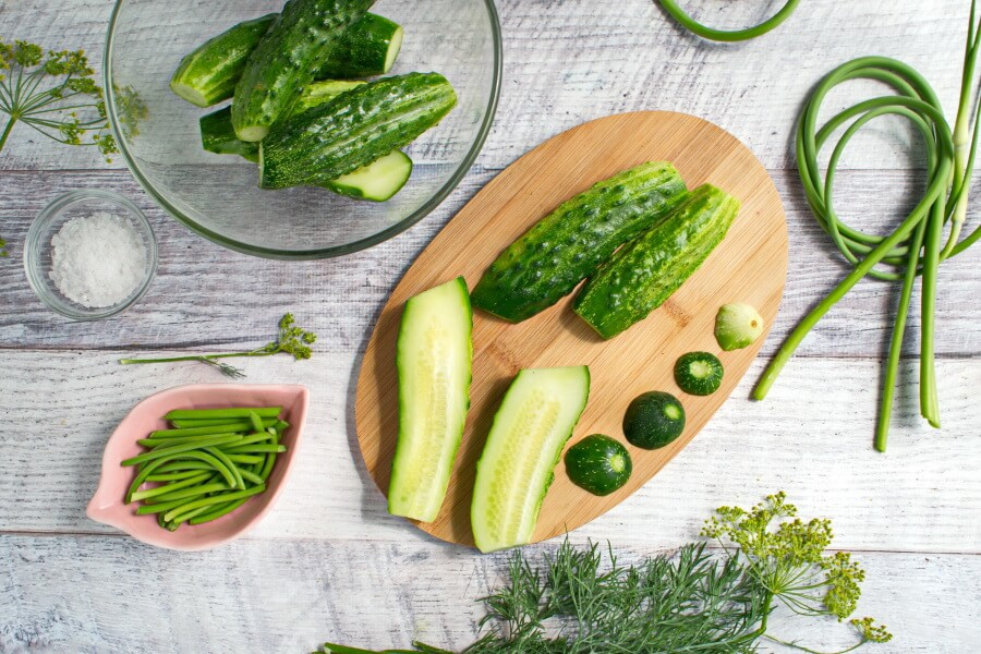 Lacto-Fermented Pickles with Garlic Scapes recipe - step 1
