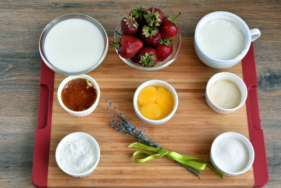 Ingridiens for Lavender Scented Strawberries with Honey Cream