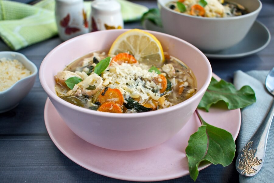 How to serve Lemon Chicken and Chard Orzo Soup