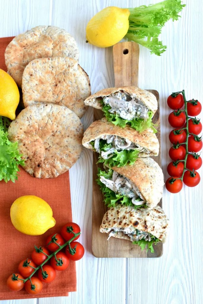 Citrus and Poppy Seed Chicken in Pita Breads