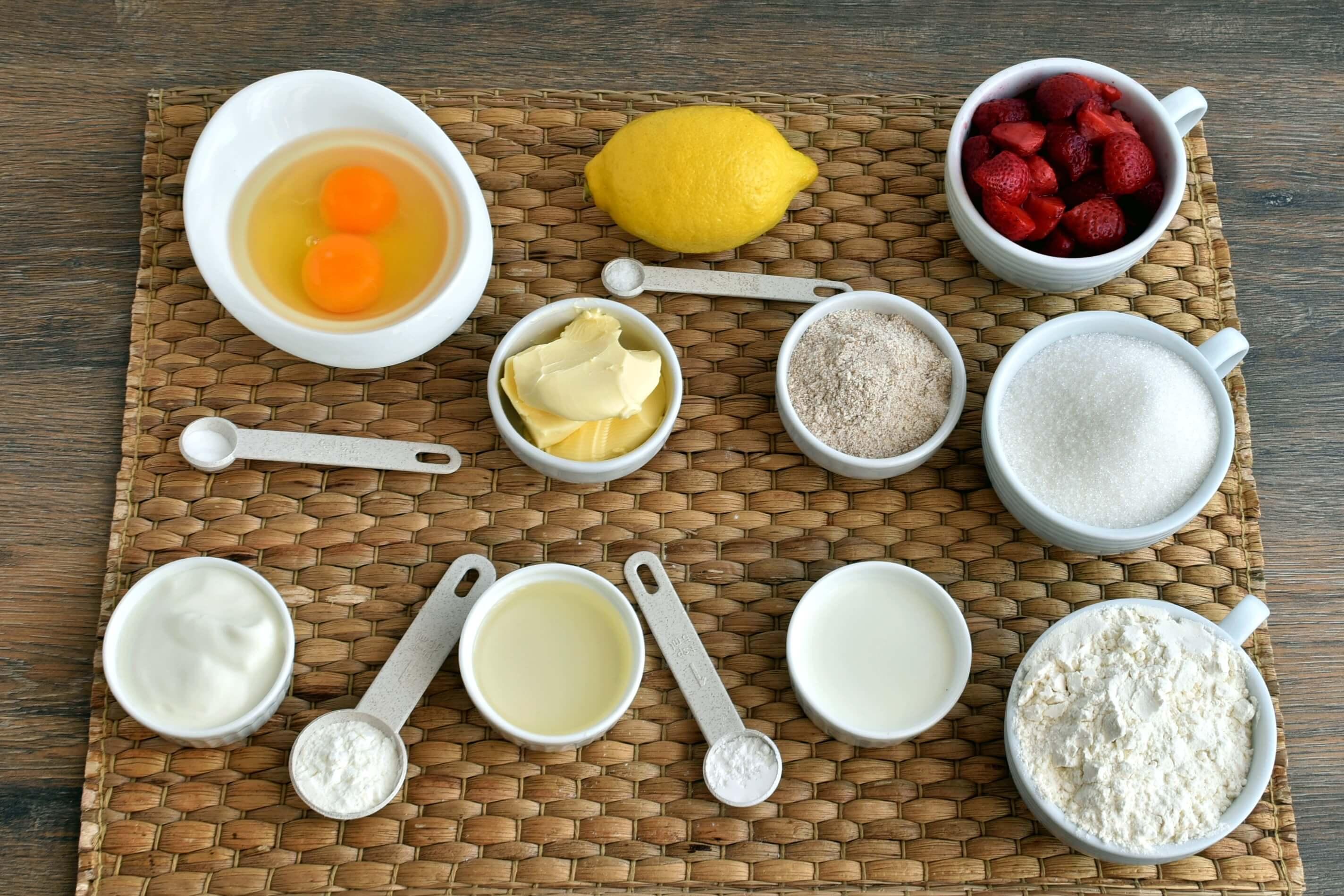 Ingridiens for Pound Cake with Strawberry Glaze