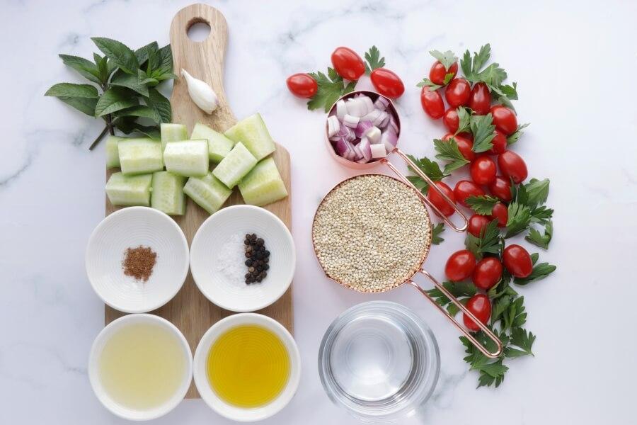 Ingridiens for Gluten Free Quinoa Tabbouleh Salad