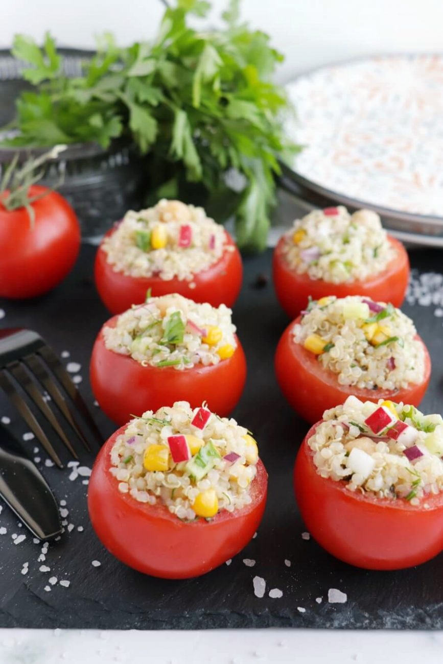 Gluten Free Quinoa and Chickpea Stuffed Tomatoes