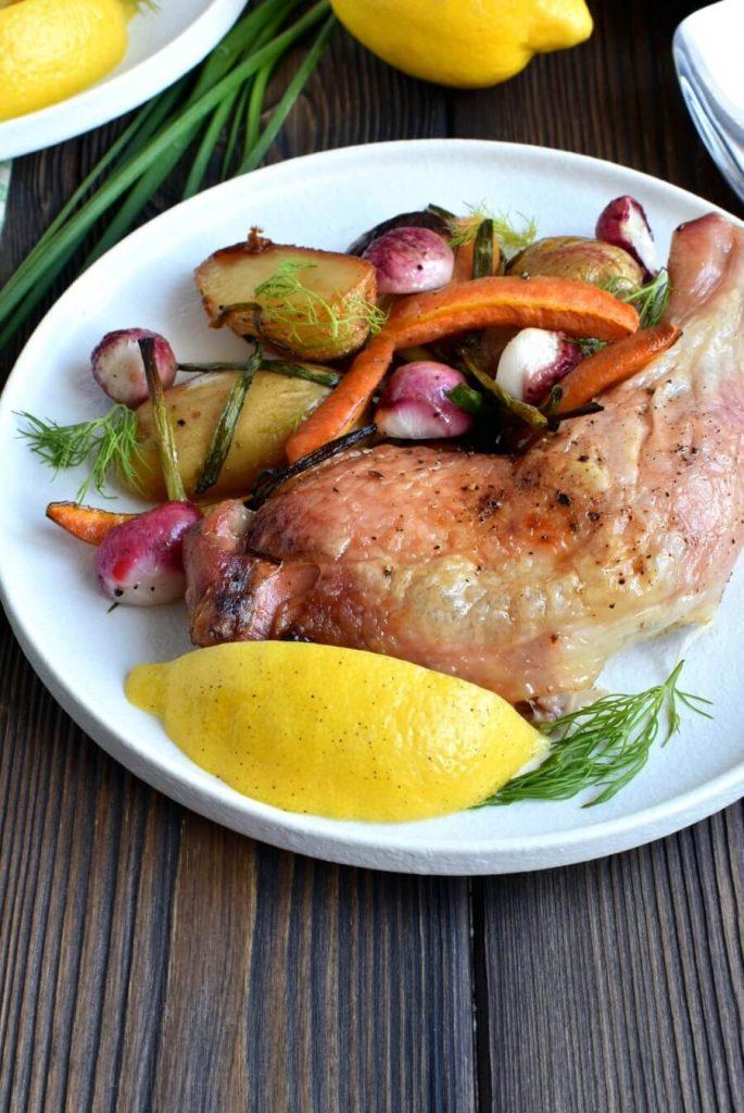 Oven Roast Chicken with Herbed Vegetables