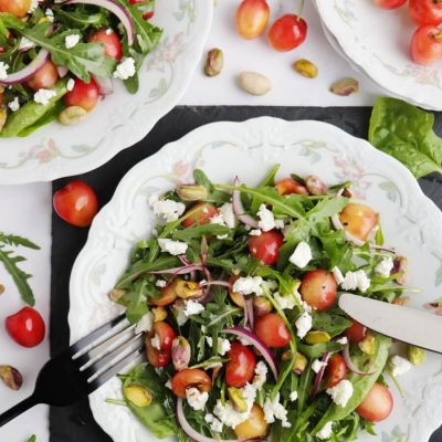 Salad with Cherries, Goat Cheese and Pistachios Recipe-Arugula, Cherry and Goat Cheese Salad-Spinach Salad with Cherries, Goat Cheese and Pistachios