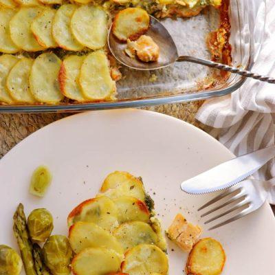 Salmon and Spinach Potato Bake Recipe-Delicious Salmon and Potato Bake-How to Cook Salmon and Spinach Potato Bake