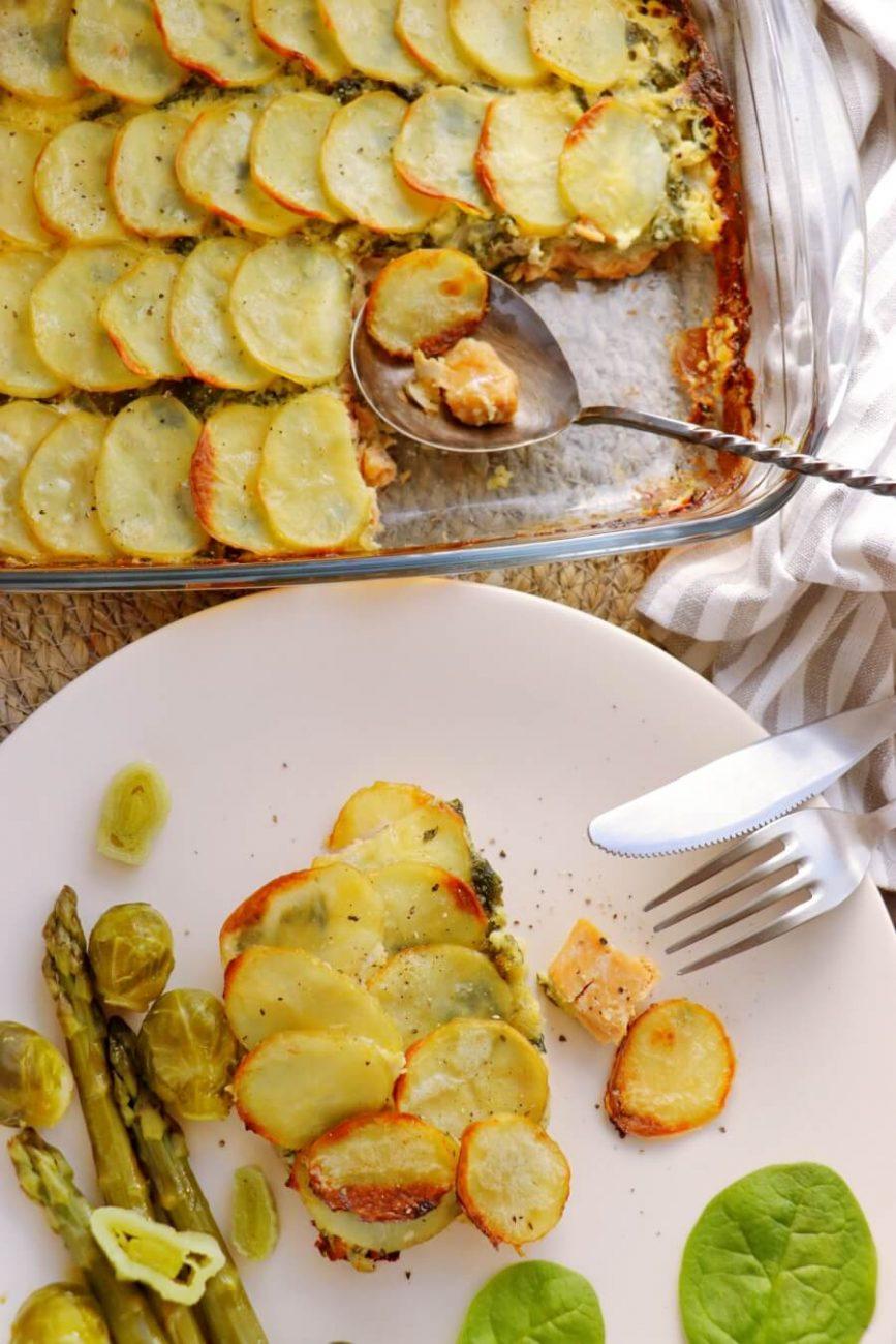 Gluten Free Salmon and Spinach Potato Bake