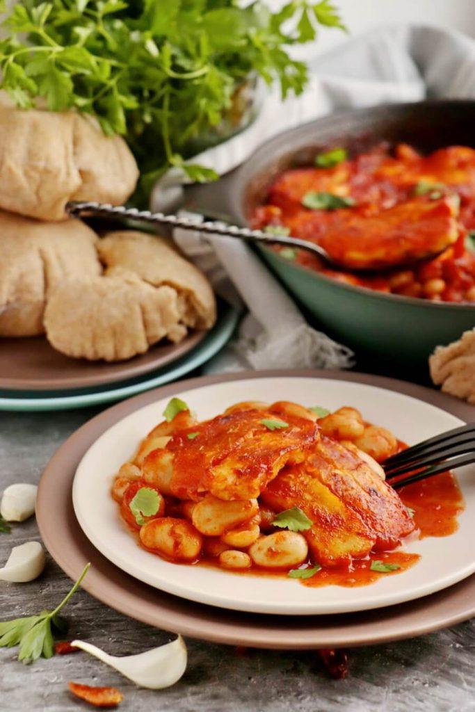 A one-dish vegetarian halloumi bake