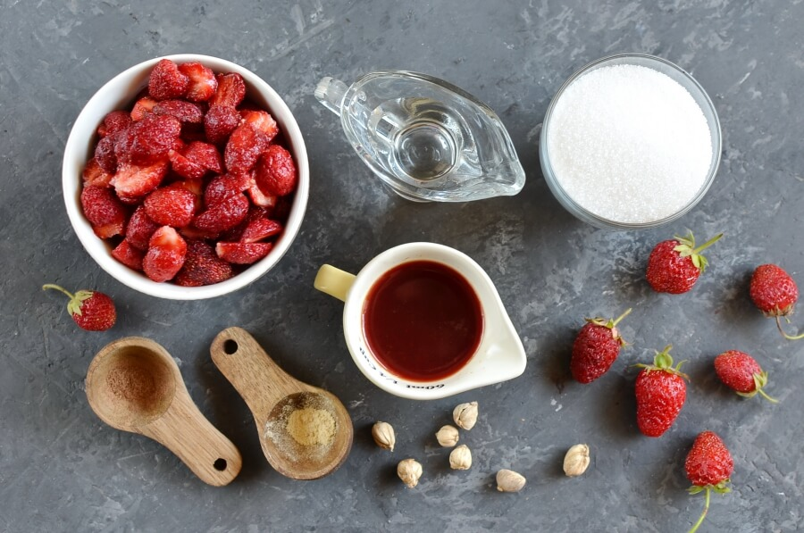 Ingridiens for Strawberry Cordial Jam