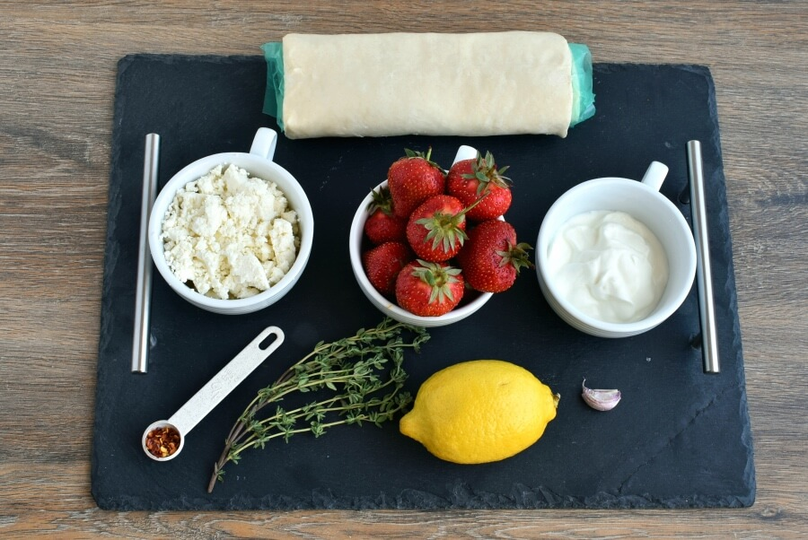 Ingridiens for Strawberry Feta and Thyme Tart