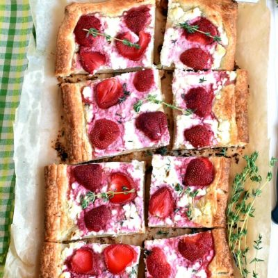 Strawberry, feta & thyme tart Recipe-How To Make Strawberry, feta & thyme tart-Delicious Strawberry, feta & thyme tart