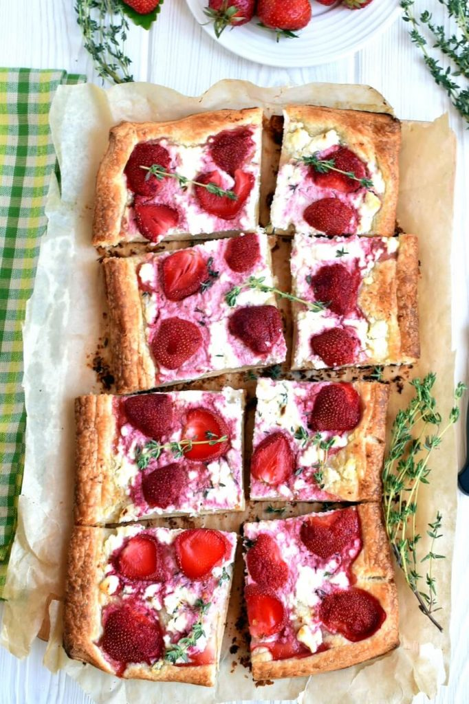 Sweet and Salty Strawberry, Feta and Thyme Tart