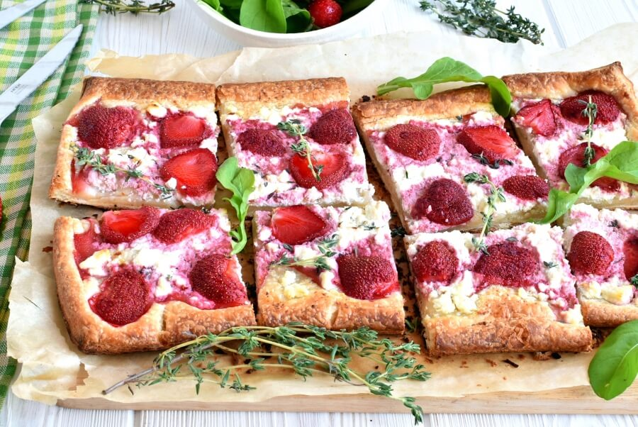 How to serve Strawberry Feta and Thyme Tart