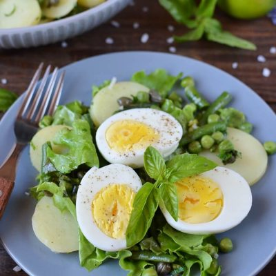 Summer egg salad with basil & peas Recipe-Homemade Summer egg salad with basil & peas-Delicious Summer egg salad with basil & peas