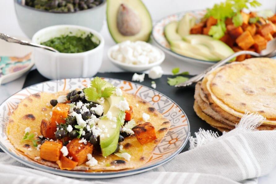 Sweet Potato, Avocado and Black Bean Tacos Recipe-Best Sweet Potato, Avocado and Black Bean Tacos-Avocado Sweet Potato Tacos