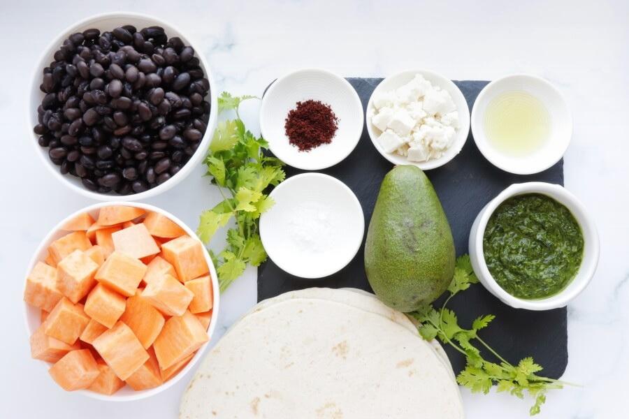 Ingridiens for Sweet Potato, Avocado and Black Bean Tacos
