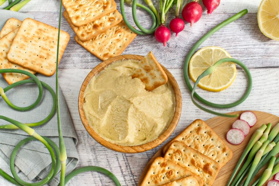 How to serve Vegan Hummus with Garlic Scapes