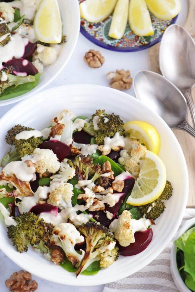 Vegan Roasted Cauli-Broc Bowl with Tahini Hummus