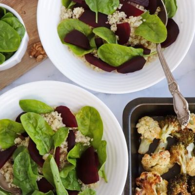Vegan Roasted Cauli-Broc Bowl with Tahini Hummus recipe - step 2