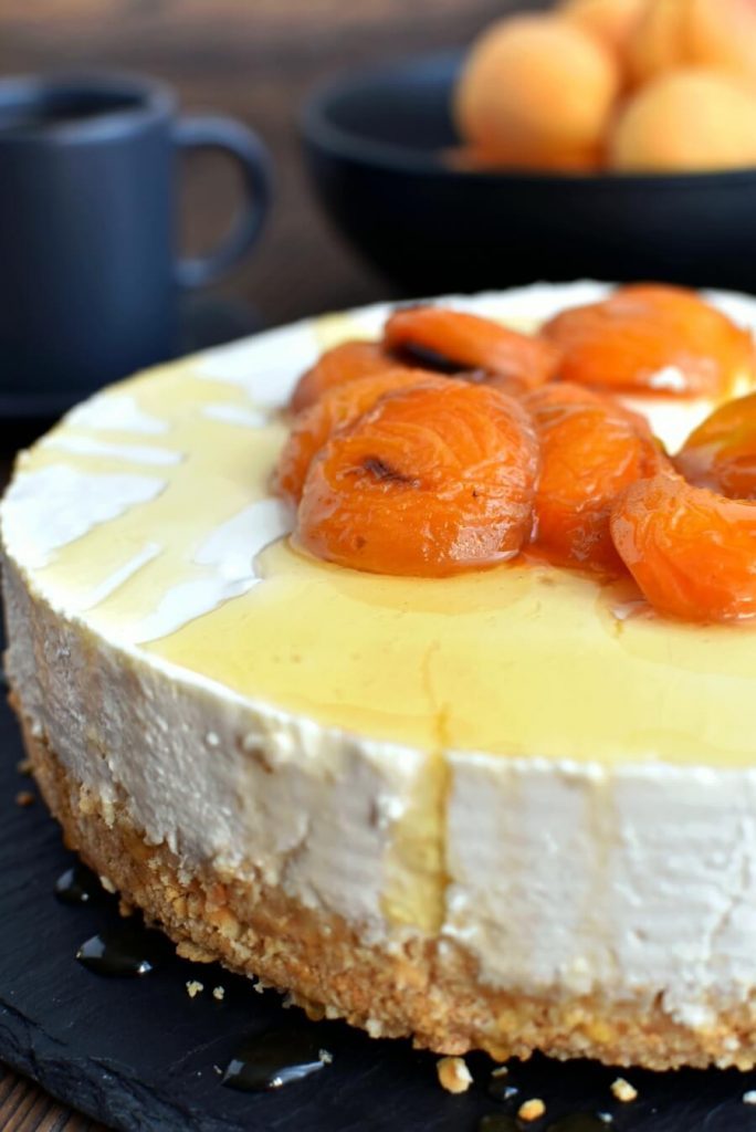Homemade Yoghurt Cheesecake with Sweet Honey Roasted Apricots