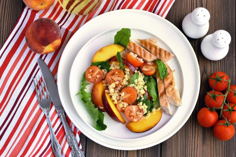 Chicken and Bulgur Salad With Peaches Recipe-Homemade Chicken and Bulgur Salad With Peaches -Delicious Chicken and Bulgur Salad With Peaches