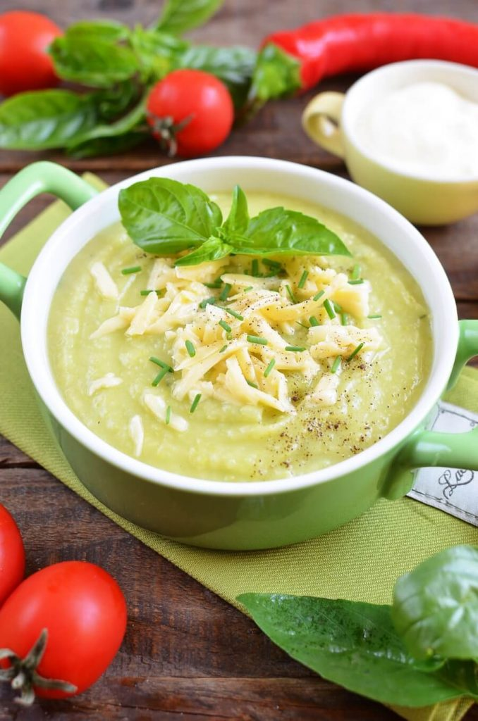 Hot Vegetable and Cheese Soup